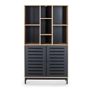 Knihovna s dřevěnou konstrukcí a černými detaily Marckeric Alessia