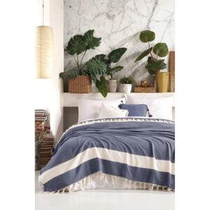 Tmavě modrý bavlněný přehoz přes postel Viaden Şeritli,200x230cm