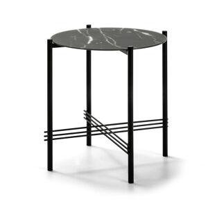 Černý odkládací stolek se skleněnou deskou v mramorovém dekoru Marckeric,ø47cm
