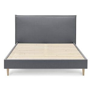 Tmavě šedá dvoulůžková postel Bobochic Paris Sary Light, 160 x 200 cm