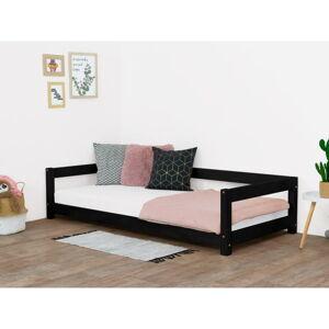 Černá dětská postel ze smrkového dřeva BenlemiStudy, 90x160cm