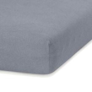 Tmavě šedé elastické prostěradlo s vysokým podílem bavlny AmeliaHome Ruby, 120/140 x 200 cm