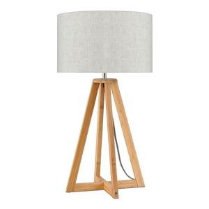 Stolní lampa se světle béžovým stínidlem a konstrukcí z bambusu Good&Mojo Everest