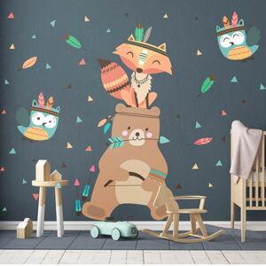 Dětské samolepky na zeď Ambiance Bear Indian Happy