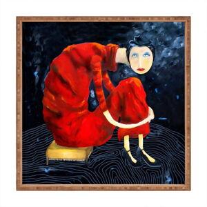 Dřevěný dekorativní servírovací tác Red Lady, 40x40cm