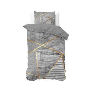 Šedé bavlněné povlečení na jednolůžko Pure Cotton Graphic,140x200/220cm