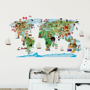 Nástěnná samolepka Ambiance World Map Discovery