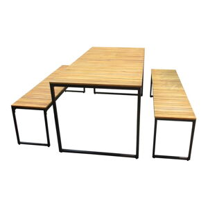 Zahradní set stolu a 2 lavic z akáciového dřeva s kovovou konstrukcí Ezeis Brick