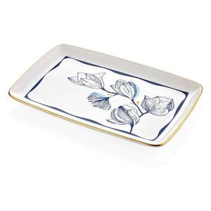 Bílý porcelánový servírovací talíř s modrými květy Mia Bleu, 34 x 25 cm