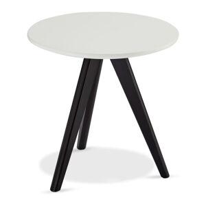 Černo-bílý konferenční stolek s nohami z dubového dřeva Furnhouse Life, Ø40cm