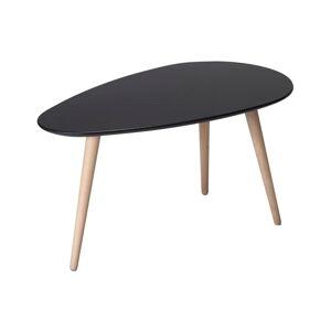 Černý konferenční stolek s nohami z bukového dřeva Furnhouse Fly,75x43cm