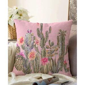 Růžový povlak na polštář s příměsí bavlny Minimalist Cushion Covers Blooming Cactus,55x55cm
