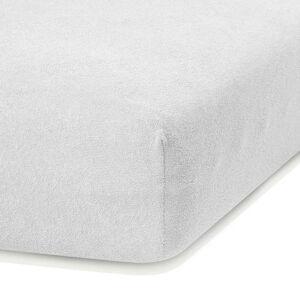 Bílé elastické prostěradlo s vysokým podílem bavlny AmeliaHome Ruby, 80/90 x 200 cm