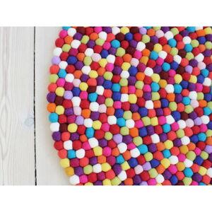 Tmavě červený kuličkový vlněný koberec Wooldot Ball Rugs, ⌀ 140 cm