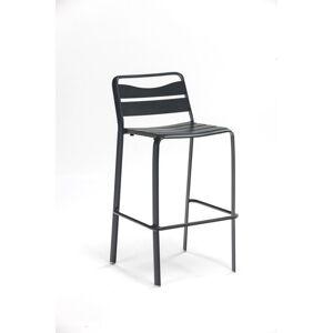 Sada 2 šedých zahradních hliníkových stohovatelných barových stoliček Ezeis Spring