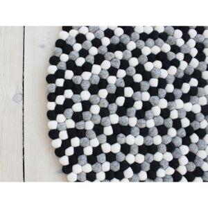 Černo-bílý kuličkový vlněný koberec Wooldot Ball Rugs, ⌀ 90 cm